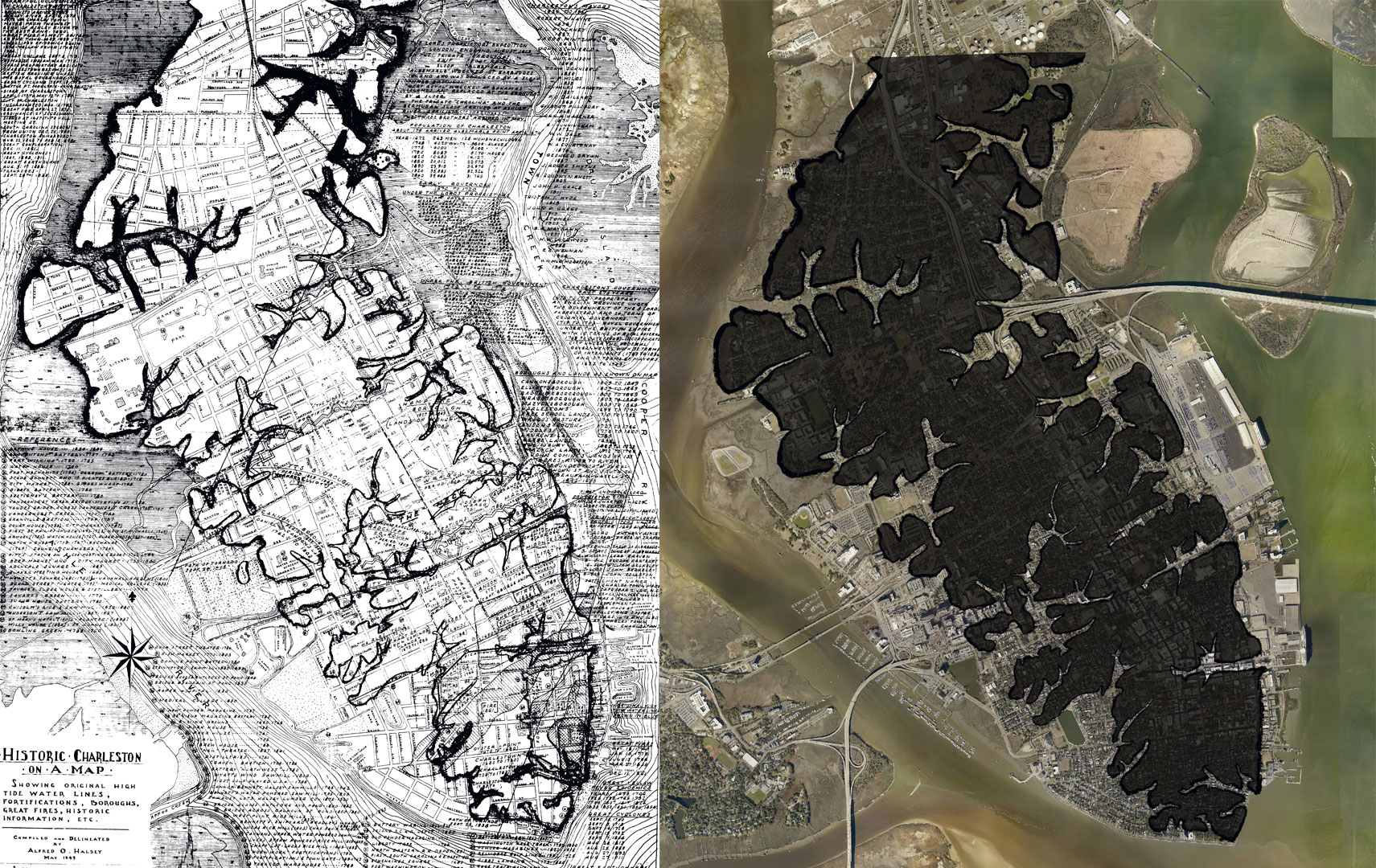 A historic Halsey Map (left) shows the original creek bed lines on the peninsula, and (right) the map is overlaid on a current aerial image, indicating areas that once were waterways. Images courtesy of the city of charleston Flooding & Sea Level rise Strategy, February 2019