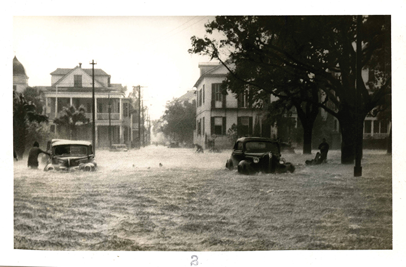 Wet Point Gardens: A hurricane in 1940 turned White Point Gardens into a waterway.  Photograph courtesy of The Charleston Museum