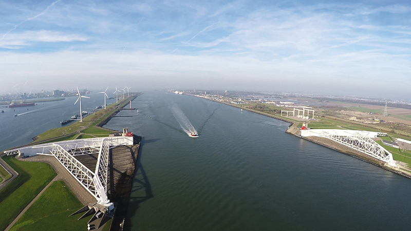 The massive 72-foot-high, 689-foot-long steel gates of the Maeslantkering protect Rotterdam, and the entrance to one of the world's busiest ports, from storm surge. Photograph by GLF Media
