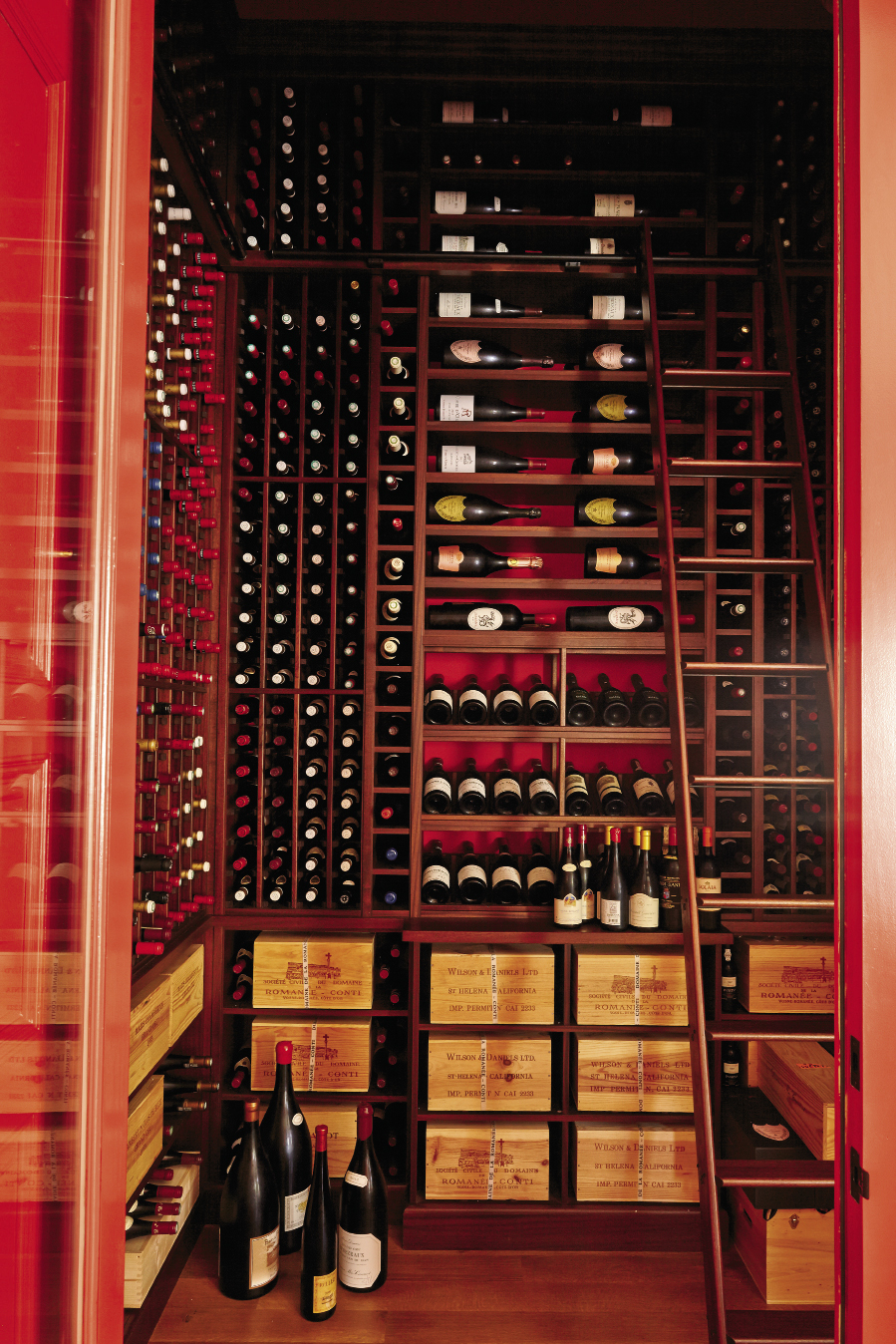 Stephen's prized wine collection is both showcased and handy.
