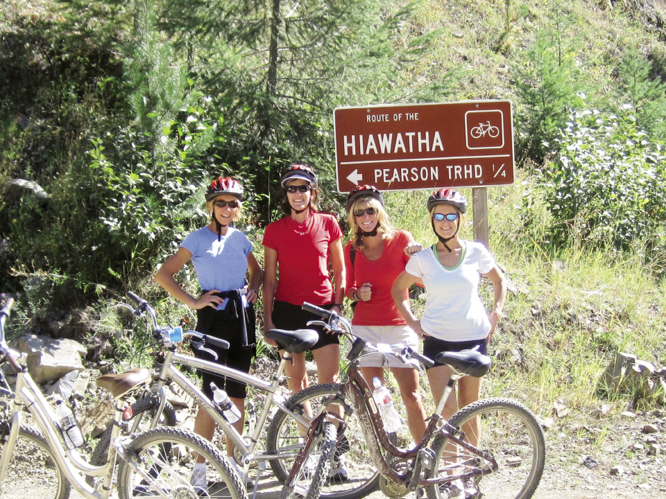 Kulze (above, far left) exercises every day, even during vacations like this girl's outdoor adventure trip, which included fly-fishing, white-water rafting, and biking the Hiawatha Trail in Montana in September 2009. Pictured with her are (left to right) Tricia Wilson, Terri Thornton, and her sister Dicksie Johnson