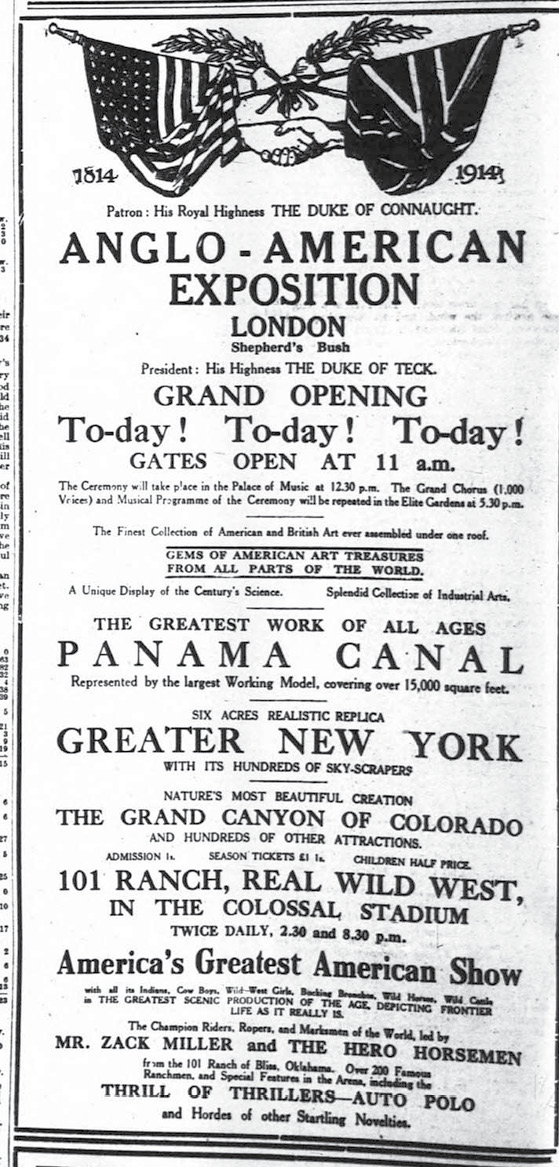 A 1914 ad in The London Times.