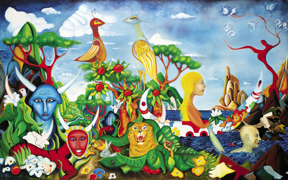 Hagerty's richly symbolic surrealistic images are inspired by his musings and rigorous study of various fields and practices: philosophy, mythology, religion, Jungian psychology, physics, and meditation. Volition (2006, oil on canvas, 60 x 96 inches)