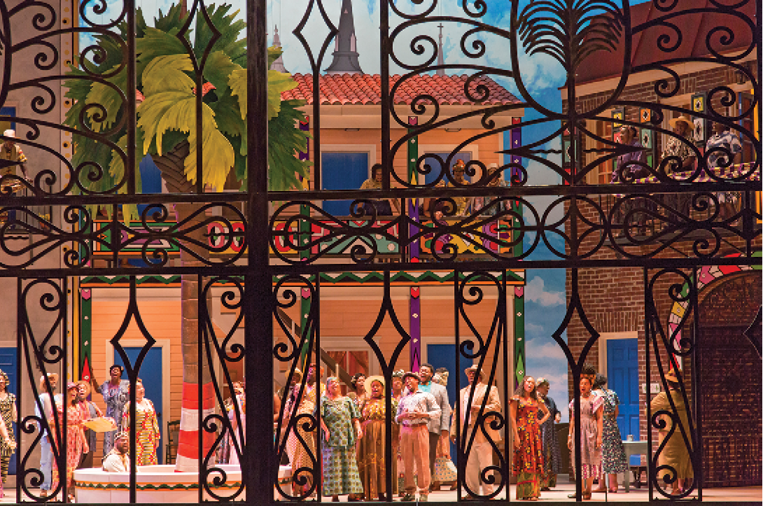When the new Gaillard Center debuted with Spoleto's 2016 production of Porgy and Bess, Redden tapped Charleston artist Jonathan Green to oversee the design, expanding his idea for a Philip Simmon's gate to be a full-stage show stealer.