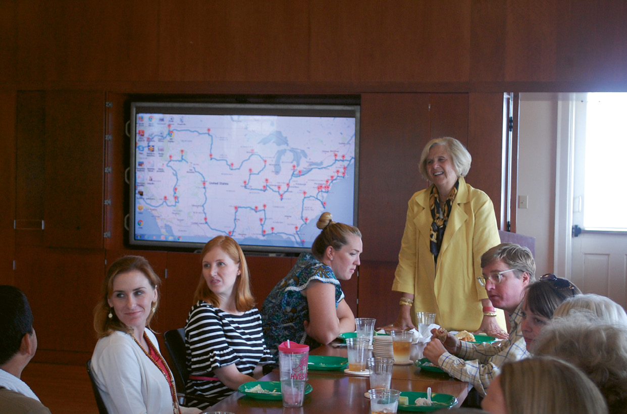 Robinson with staffers at HCF headquarters this fall