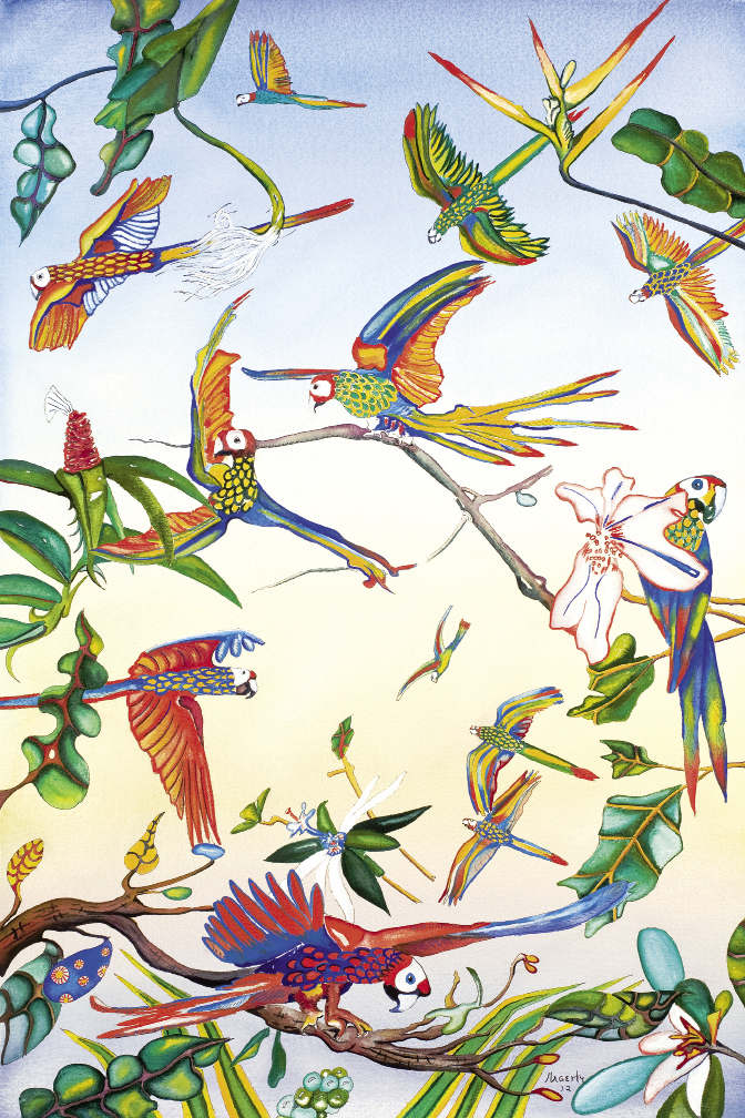 Parrots (2012, watercolor on paper, 29 x 19 inches)