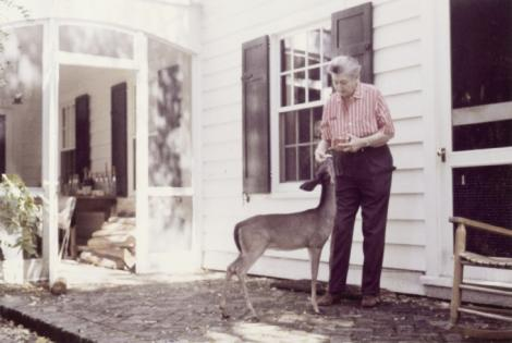Belle with her pet Deary-Deer in 1963; the fawn had full run of the house and property at Bellefield Plantation, Belle's home on Hobcaw Barony.
