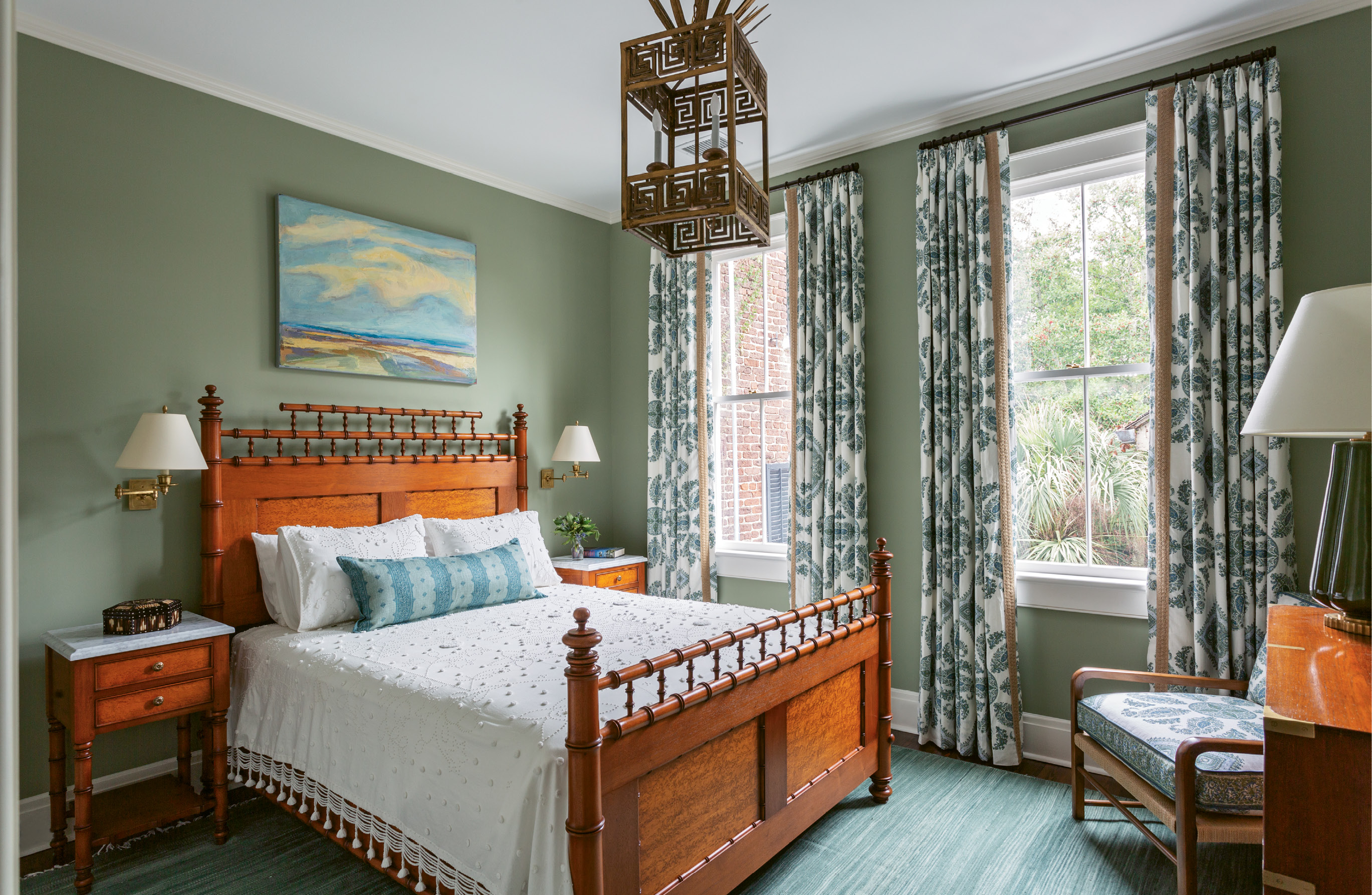 "CURTAIN CALL: Playful patterns set the tone in the guest rooms with bohemian Peter Dunham Textiles ""Samarkand"" curtains."
