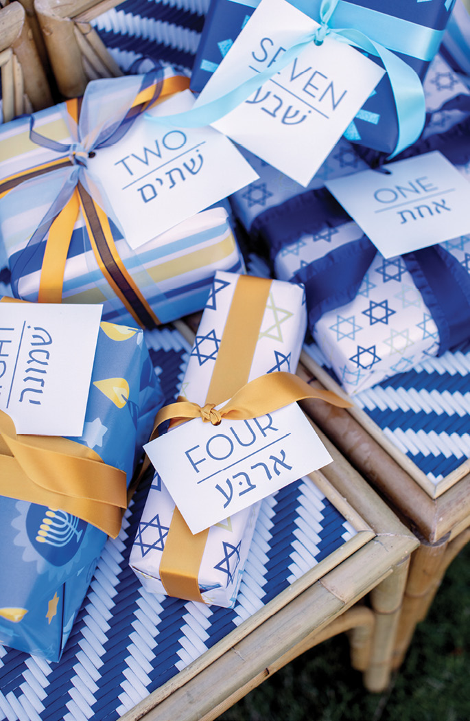 "To create gift tags numbered for each day of Hanukkah, start by using a program or website to translate each of the words ""one"" through ""eight""; Robinson used Google Translate. Copy and paste the text into a computer file and print it on paper of a heavier weight, such as 32-pound (a stationery shop can help you select the right one). Cut out each tag and tie it with ribbon."
