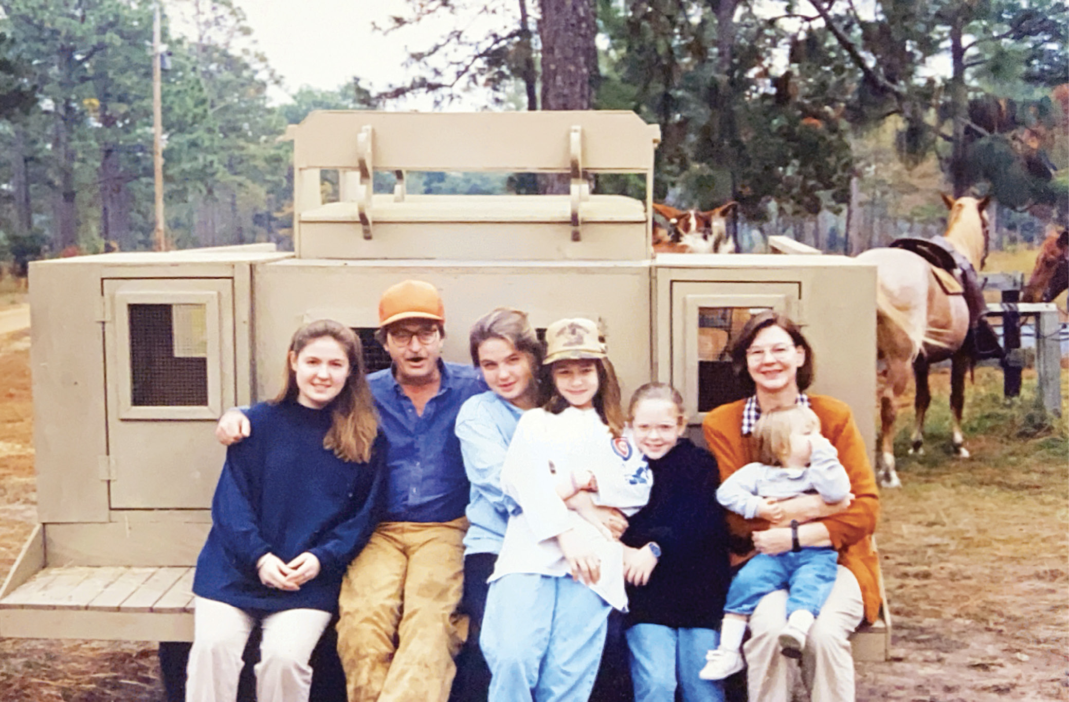 The Strachan Donnelley family on the Ashepoo mule wagon, circa 1989:  (from left) Naomi, dad Strachan, Inanna, Aidan, Ceara, mom Vivian, and Tegan.