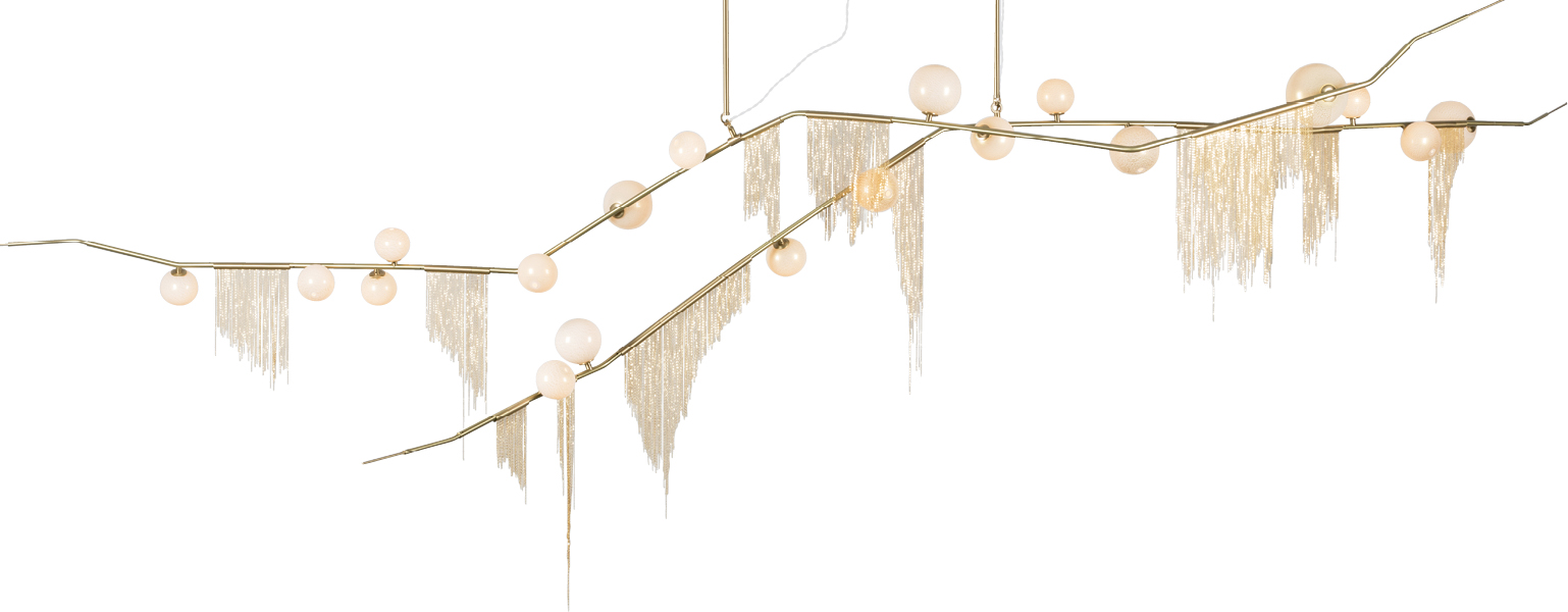 """""""Cherry Bomb Fringe"""" chandelier by Lindsey Adelman, price upon request at Ginger Brewton Interiors"""