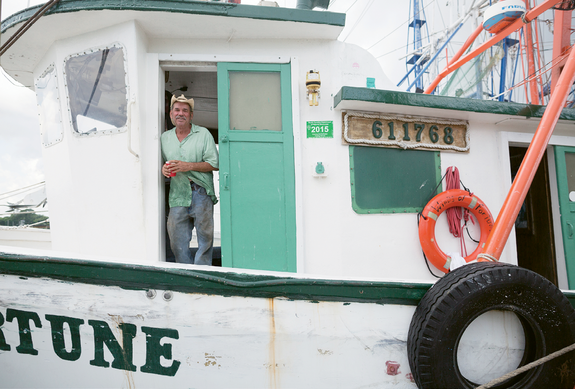 Third-generation shrimper Wayne Magwood continues the tradition on his trawler, Winds of Fortune.