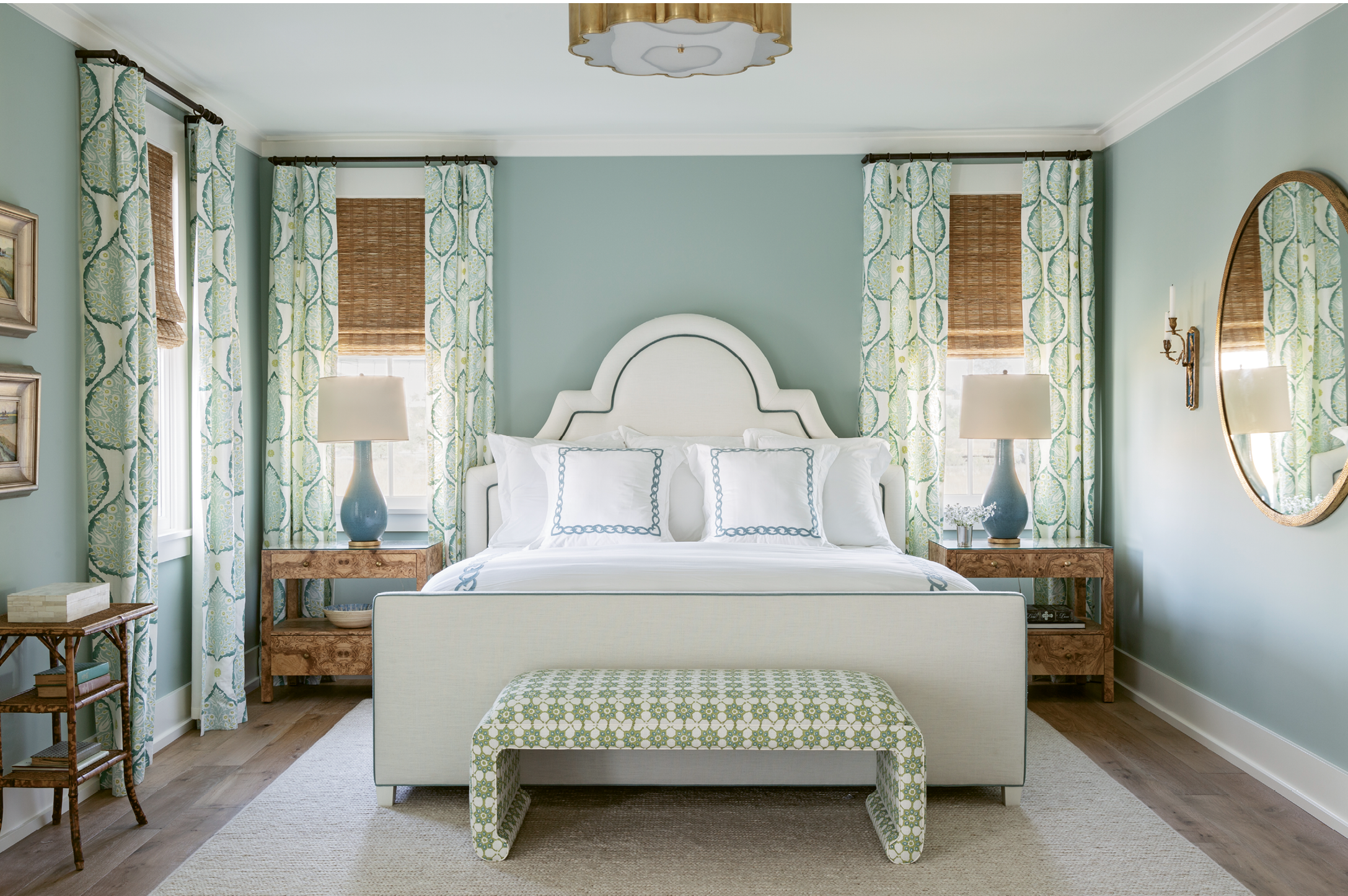 Beachy Boudoirs: The master bedroom is filled with colors inspired by the scenery outside.