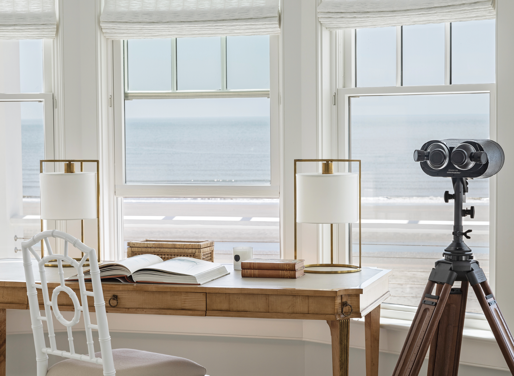 Tom's office—located just off the bedroom—boasts panoramic views of the IOP shoreline.