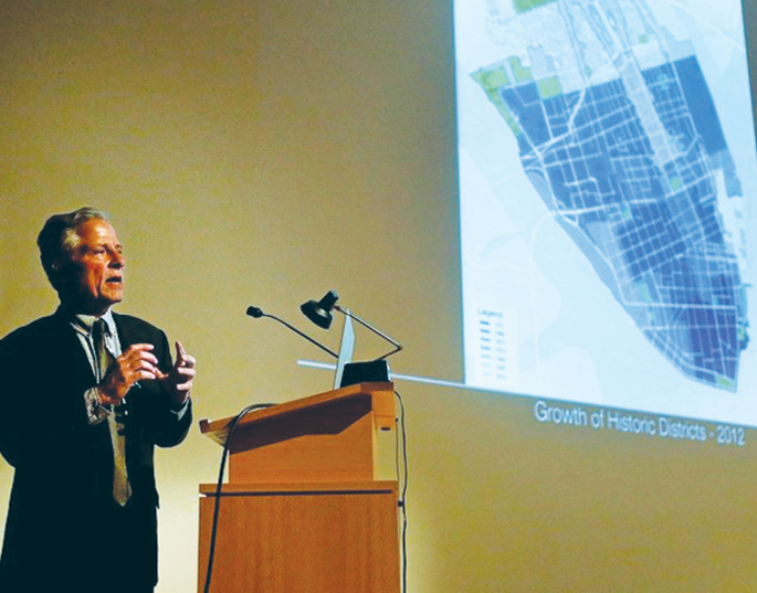 Renowned architect and urban planner Andrés Duany presents his recommendations of changes to the Board of Architectural Review in 2015.