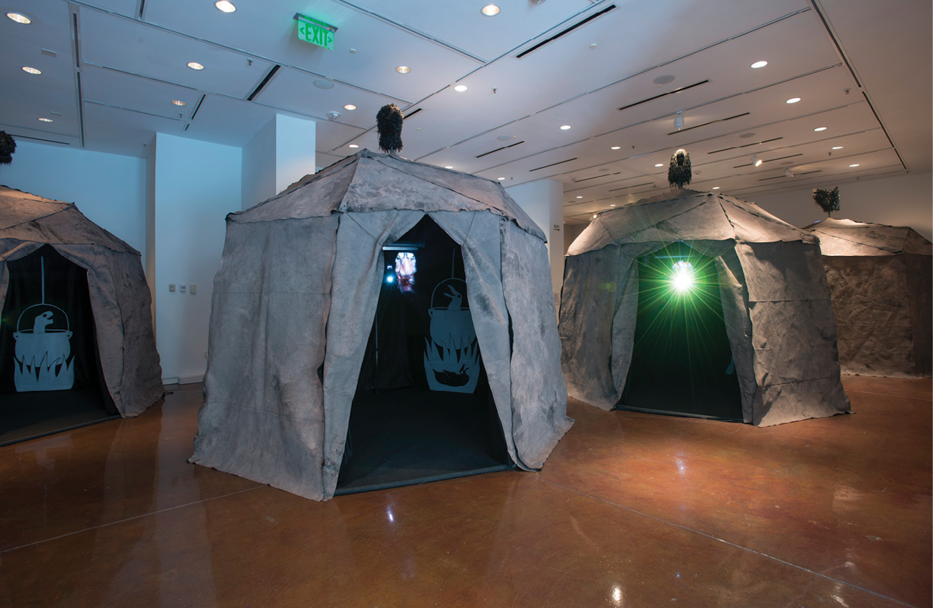 """The 2018 immersive exhibition by German artists Böler & Orendt featured a """"makeshift transdimensional stopover camp"""" in which extinct animals offered songs of forgiveness to humans."""