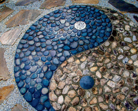 Austin and Donna O'Malley created a yin-yang symbol in the ground.