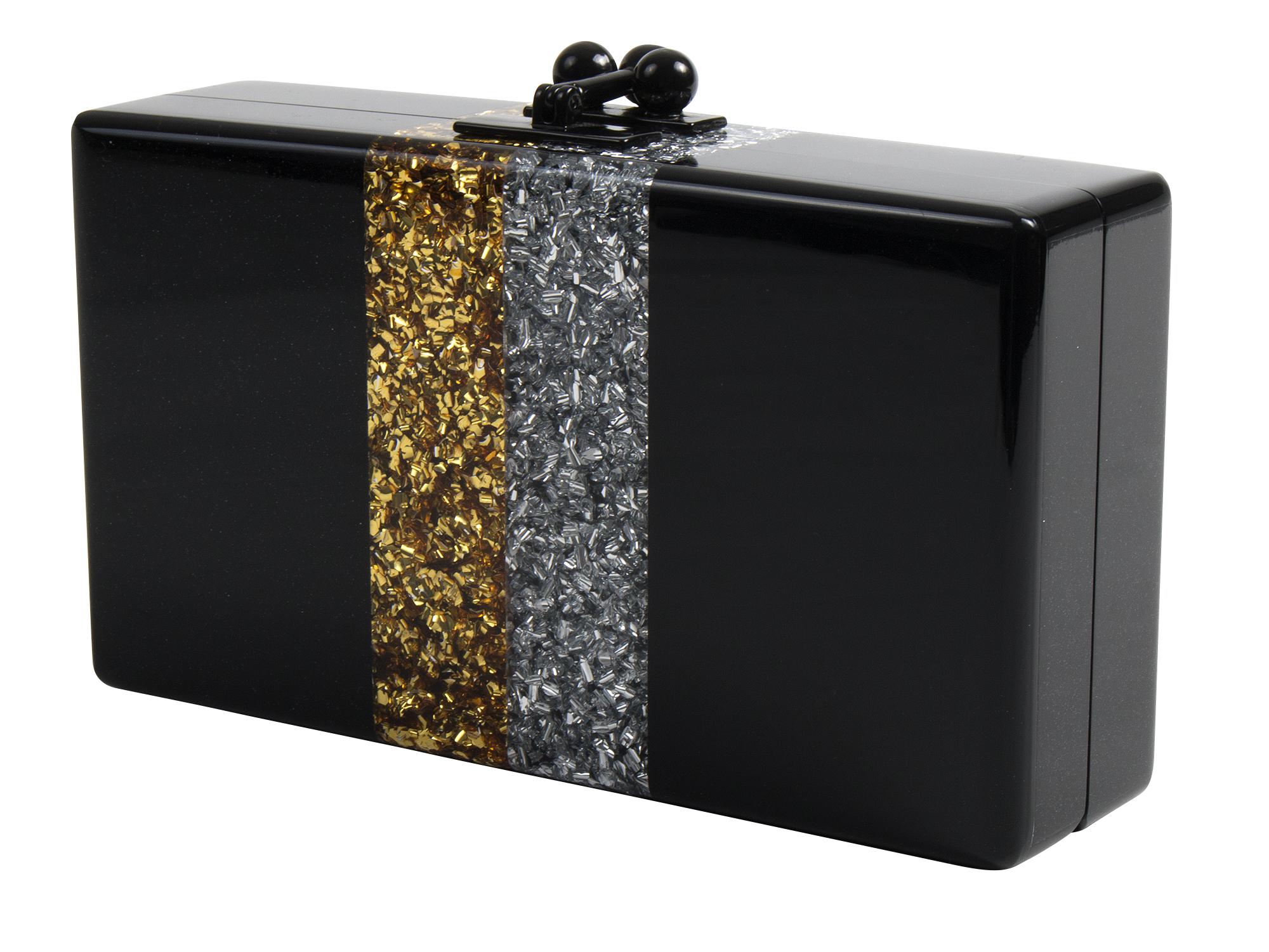 "Edie Parker ""Jean Vintage Stripe Box Clutch,"" $1,295 at James"
