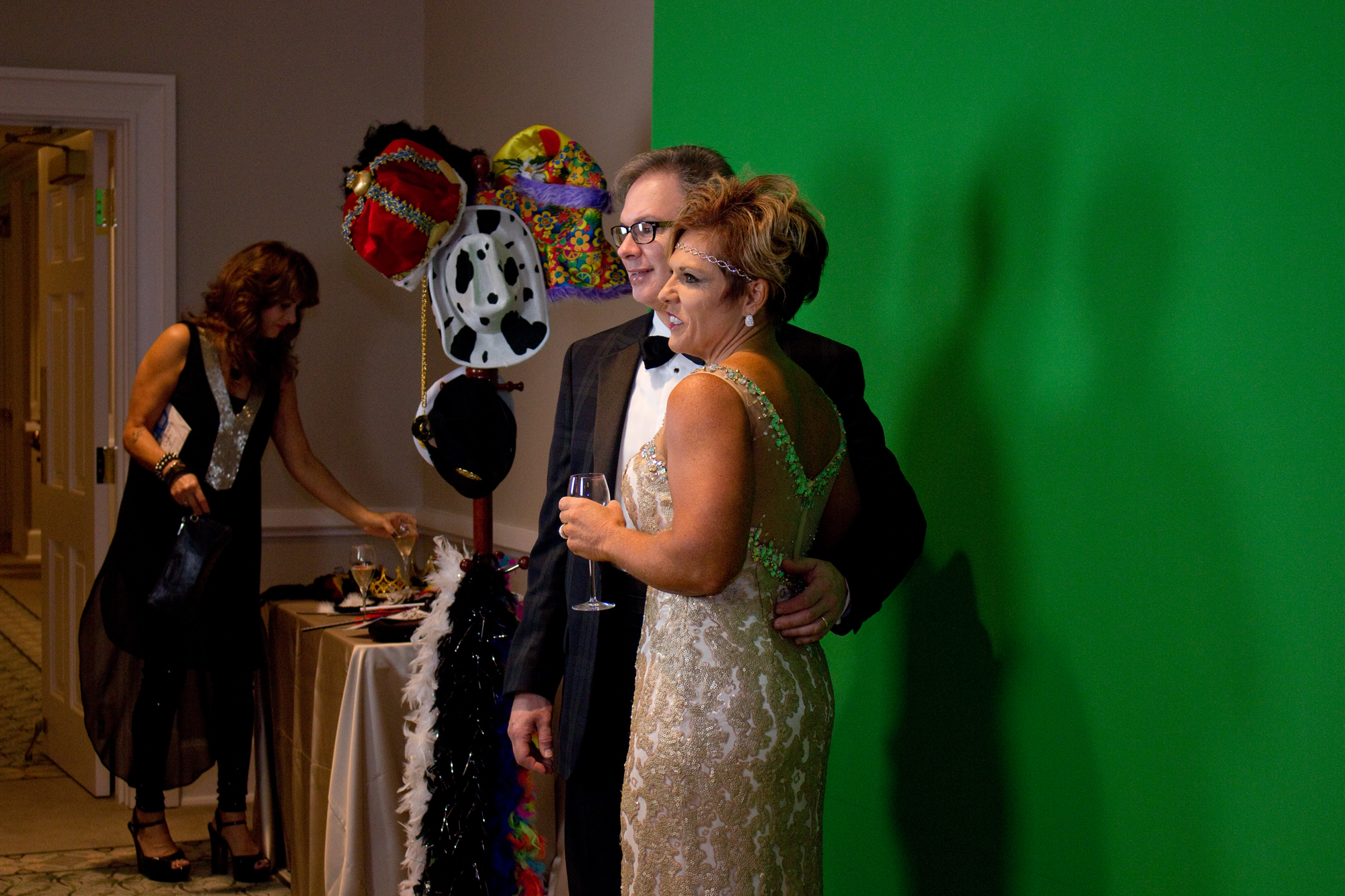 Dowm and Jim Hawley have fun at the photo booth.