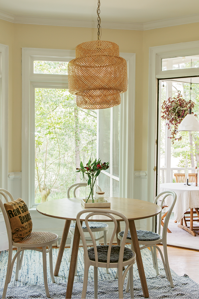 Bright & Early: A woven light fixture from IKEA brings affordable Scandinavian style to the breakfast nook.
