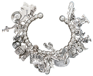 """Charmed - """"I collect old-fashioned charms for bracelets. Everywhere I visit, I try to pick up a new piece to remind me of that trip."""""""