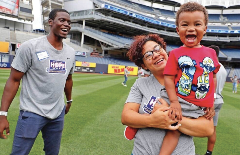 At Yankee Stadium last summer with CJ and his mother-in-law, after throwing the first pitch for the Yankee's Hope Week.