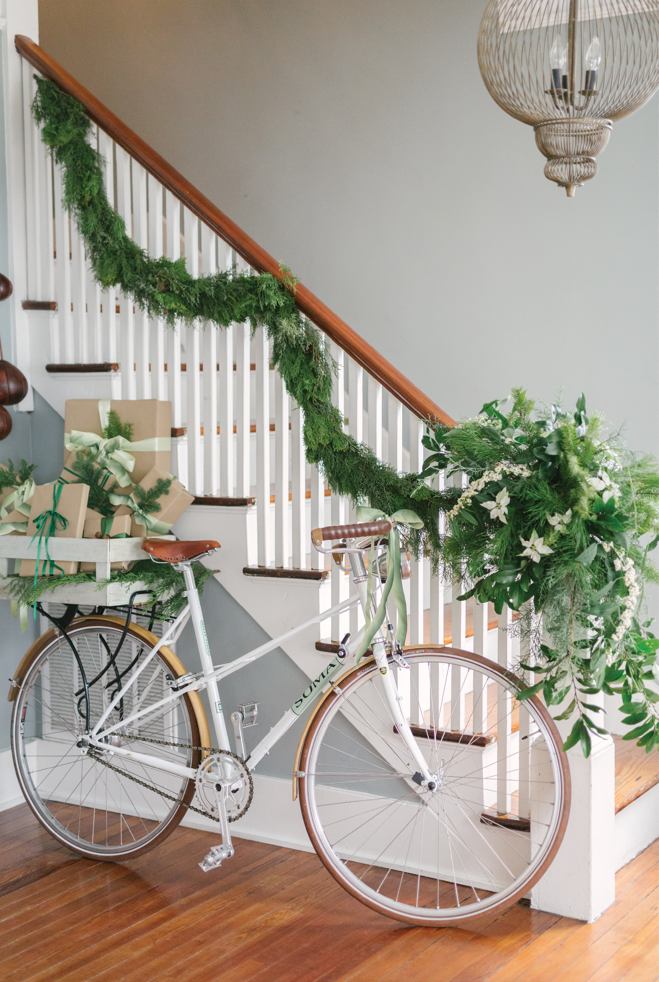 Heather's staircase garland with a stunning arrangement