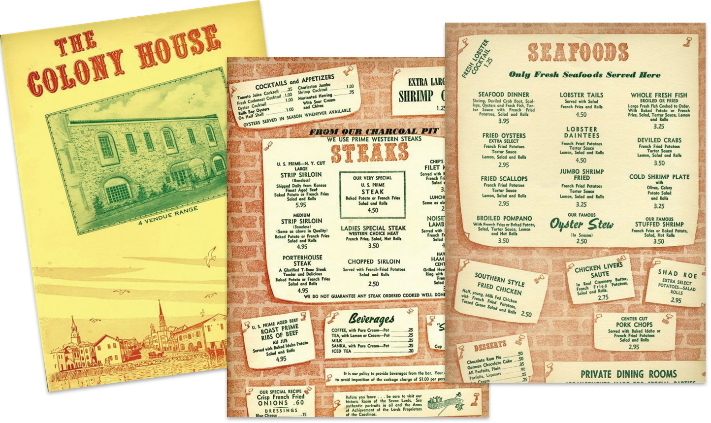 "Menus from the old school restaurant circa 1960s, before new owners Franz Meier, Chris Weihs, and Harry Waddington ""would turn haute cuisine in Charleston on its head."""