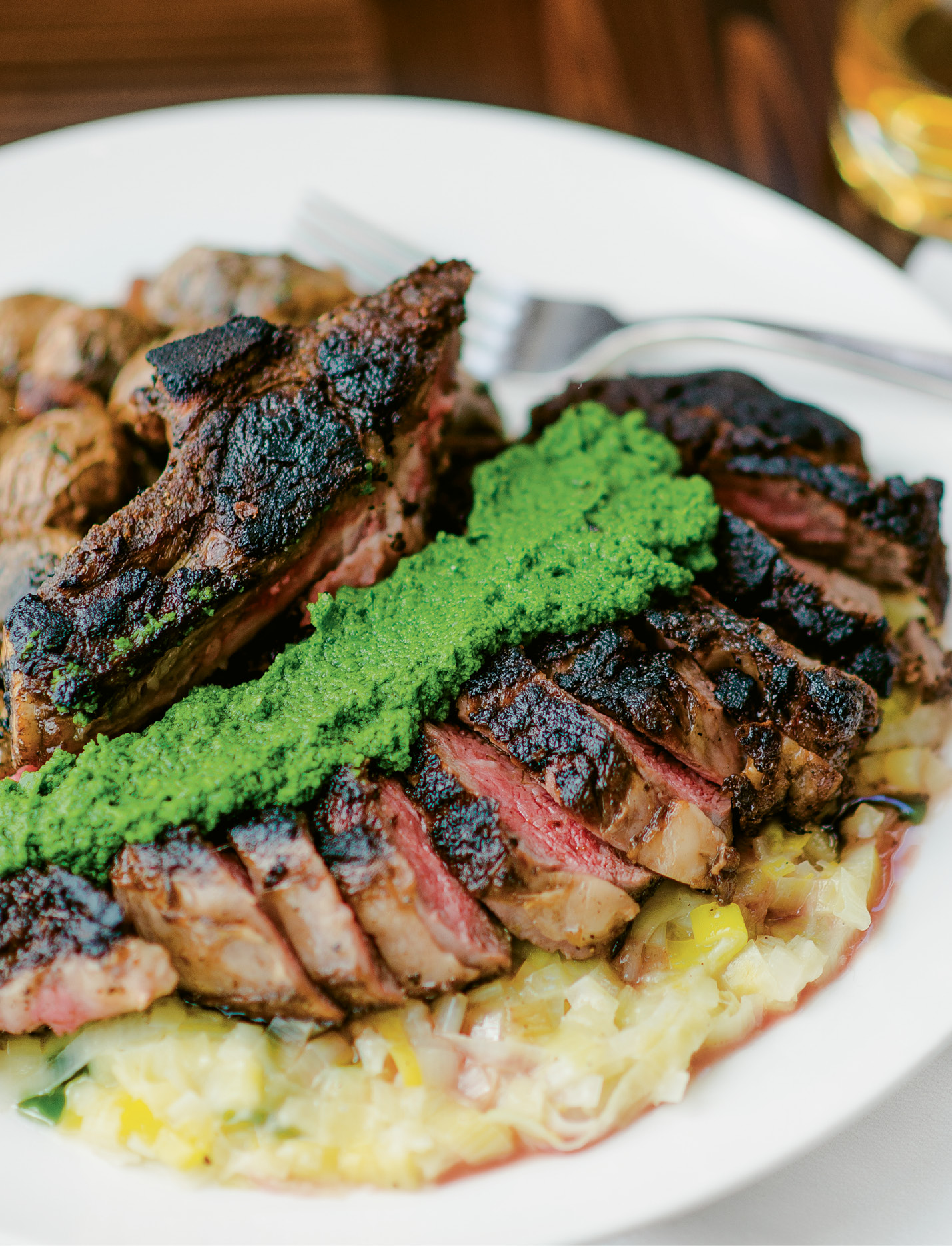 Dinner for Two: The salsa verde adds acidity and a dash of color to the rib eye