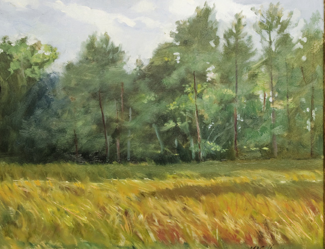"Broomstraw Fields, 2011, 8"" x 10"", oil on panel"