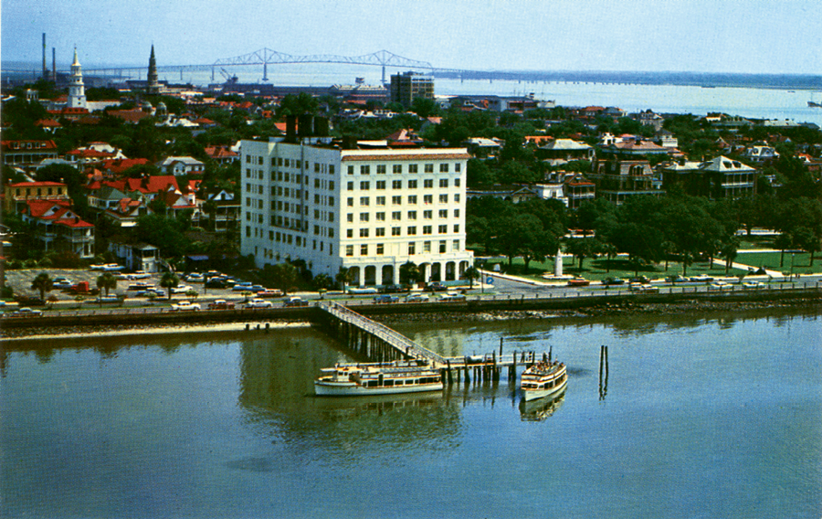 Touted as Charleston's only waterfront hotel, the Fort Sumter Hotel's Flag Room featured entrées such as shrimp in a basket served amidst unparalleled water views.