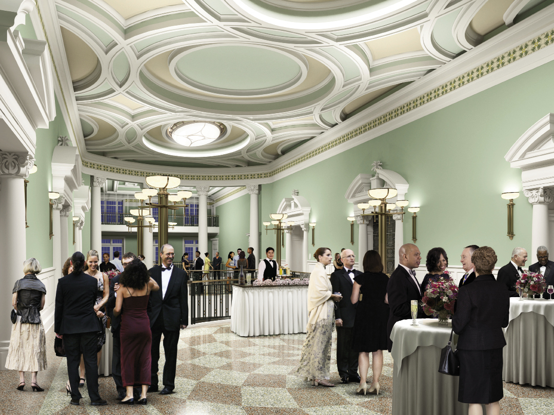 The elegant Gallery, Dress Circle, and Upper Grand lobbies offer additional event space, and the Founders Hall, reserved exclusively for major donors, will host distinctive private receptions and functions.