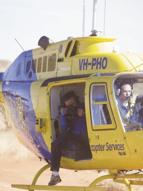 High Excitement: Barnhardt has travelled by helicopter, kayak, and horseback—among other unique transport—to get his shot. Here, he flies above Uluru, or Ayers Rock, in Australia's Northern Territory.