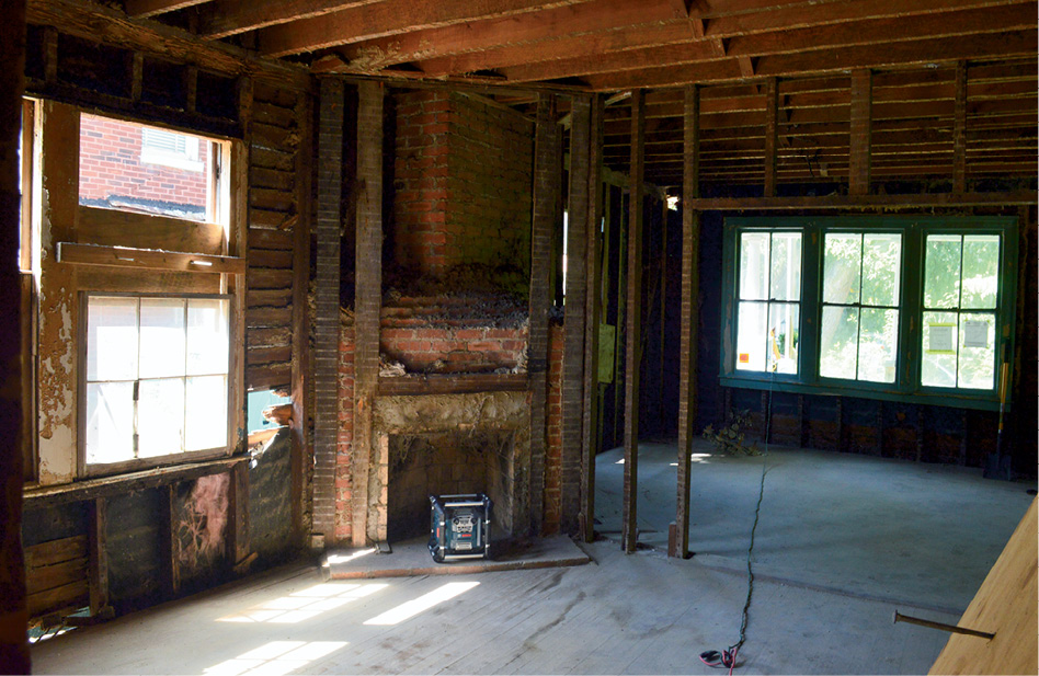 The living area during construction