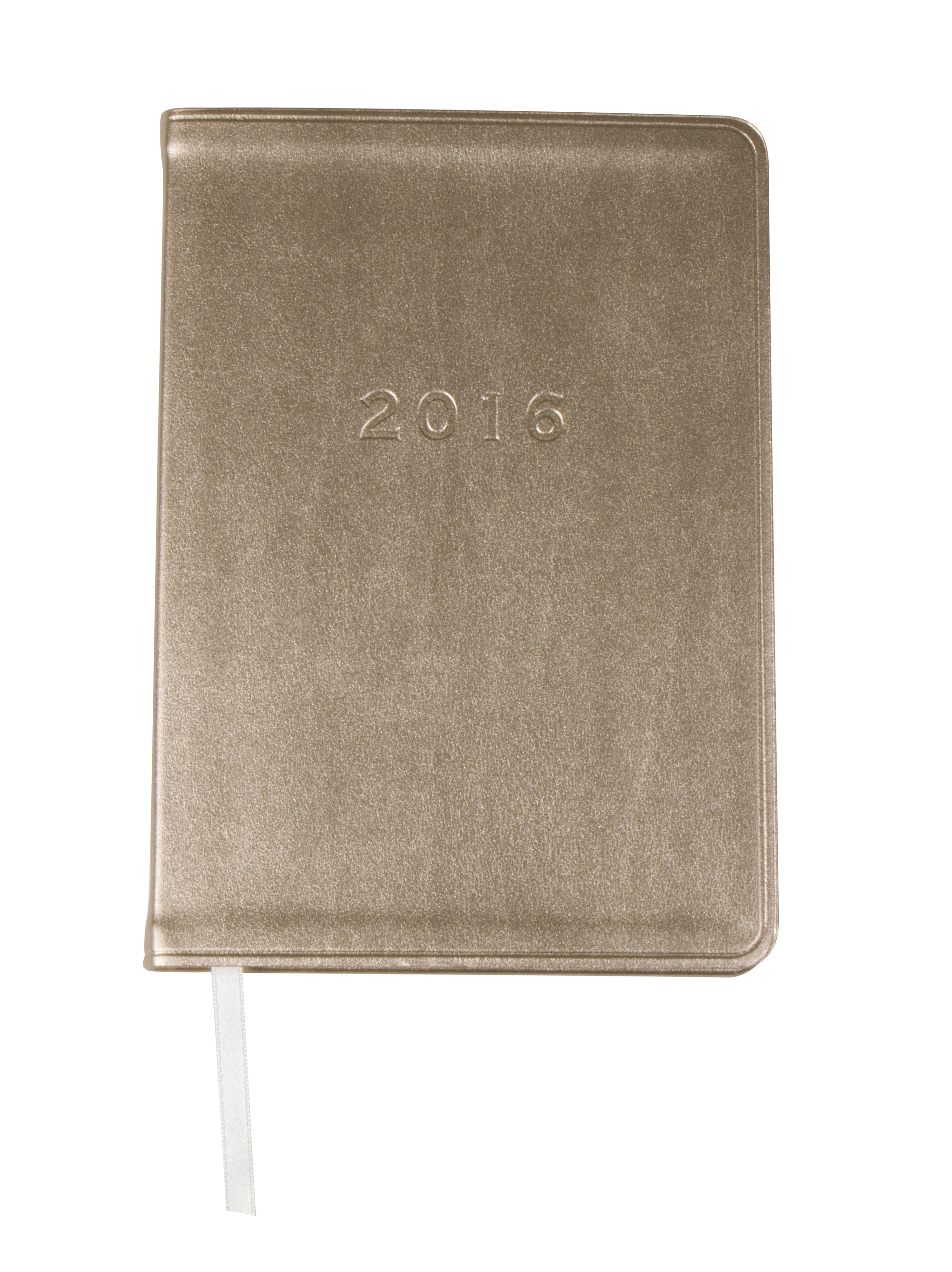 "Gallery Leather ""Metallic Weekly Planner"" in ""Metallic Gold,"" $15 at Barnes & Noble Towne Centre"