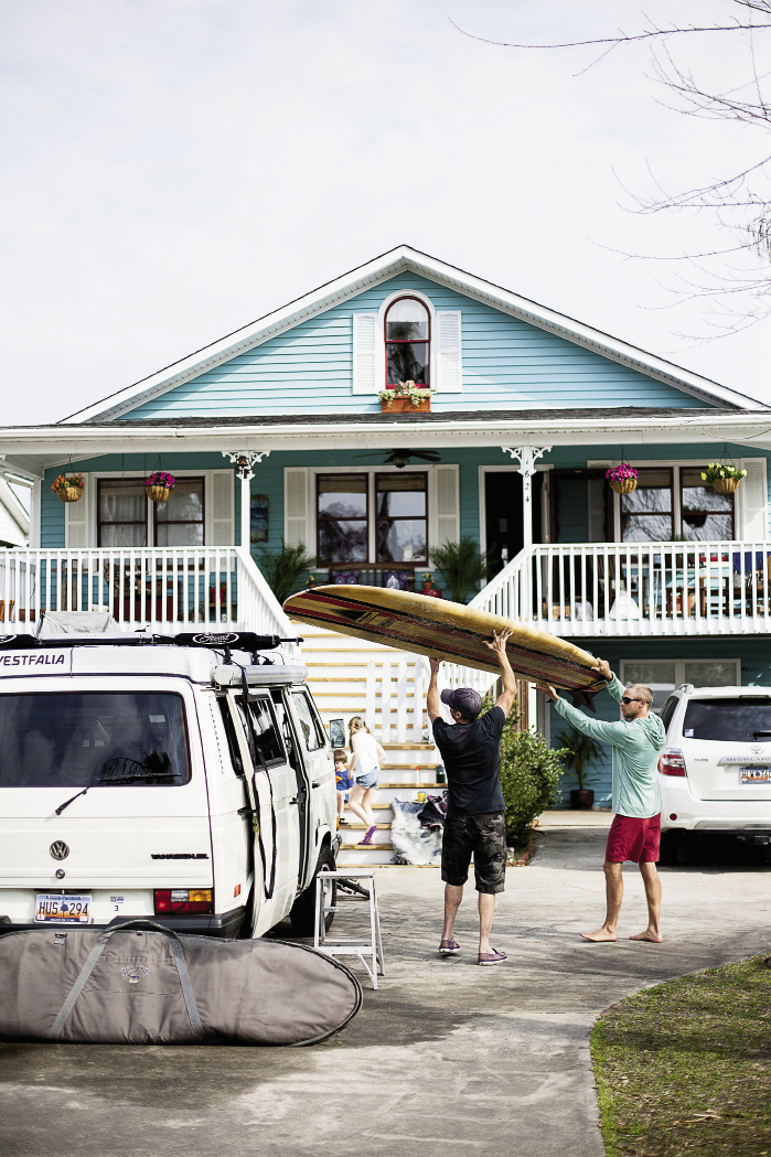 Dixon's VW camper has provided a home base for surf missions across the South.