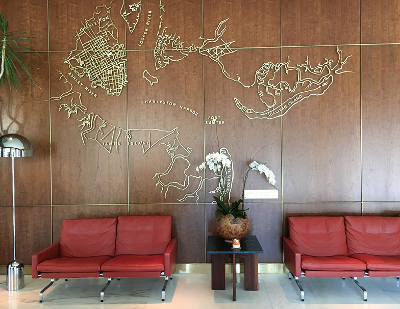 The Dewberry's snazzy mid-century lobby