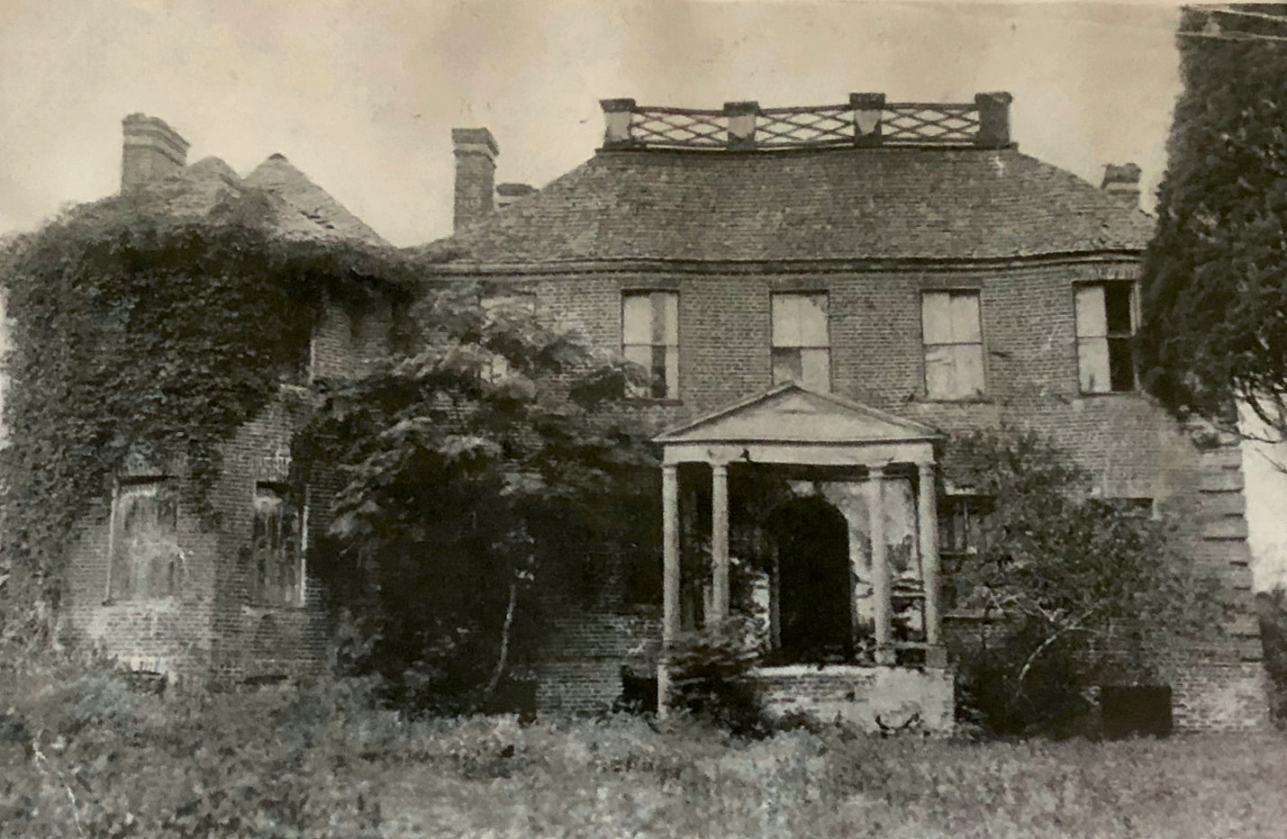 Fenwick Hall Plantation (pictured in disrepair in the early 1920s) is one of the earliest remaining examples of Georgian architecture in the state.