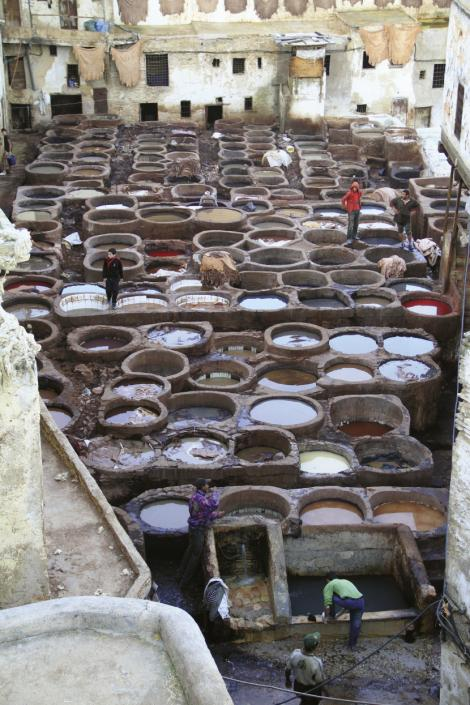 Dye pots in the leather tanneries of Fez.