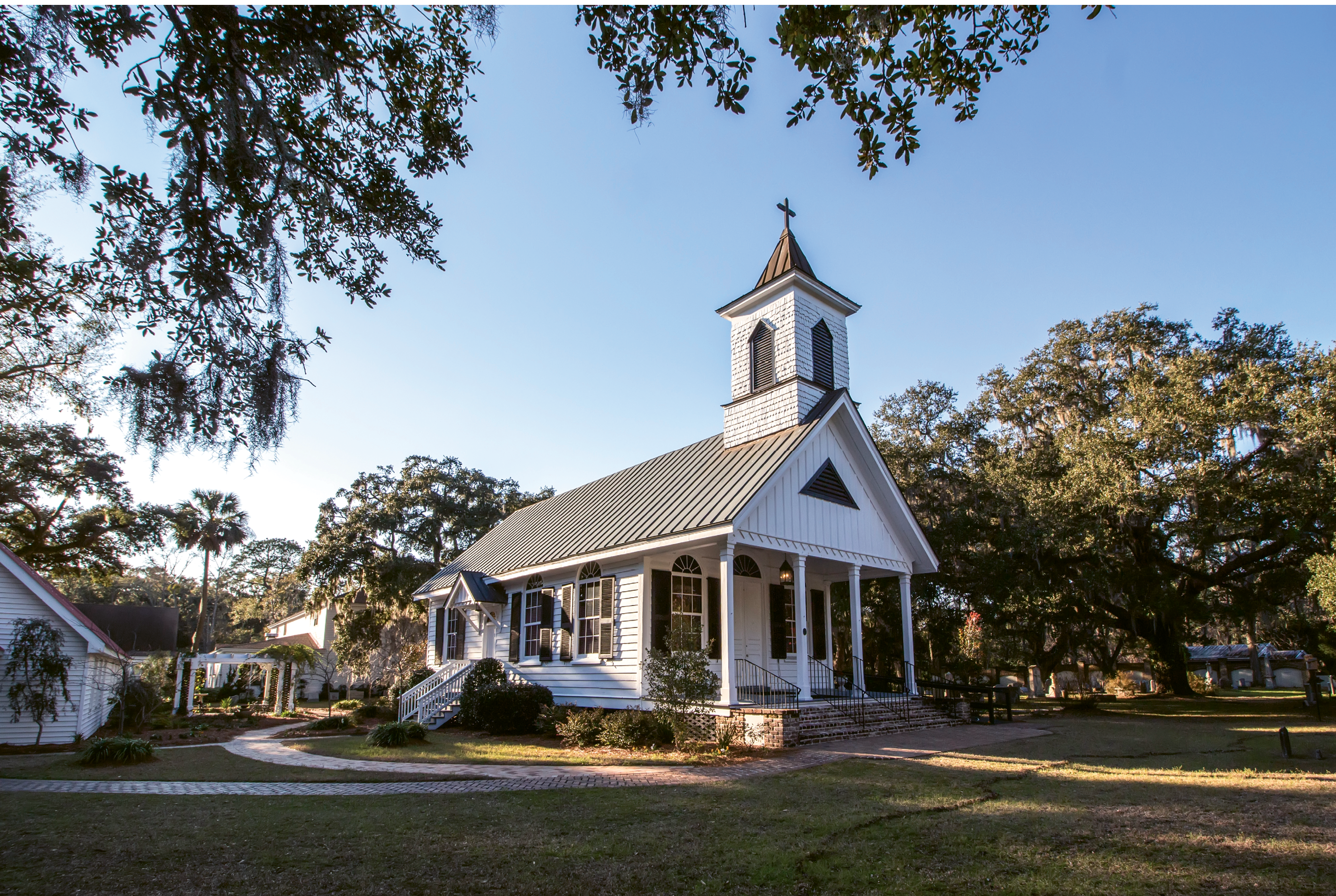 Trinity Episcopal Church, Edisto Island: The cross on the steeple was given by Eldon D. Hunter in honor of his mother, Virginia Griffen Hunter (1869-1935).