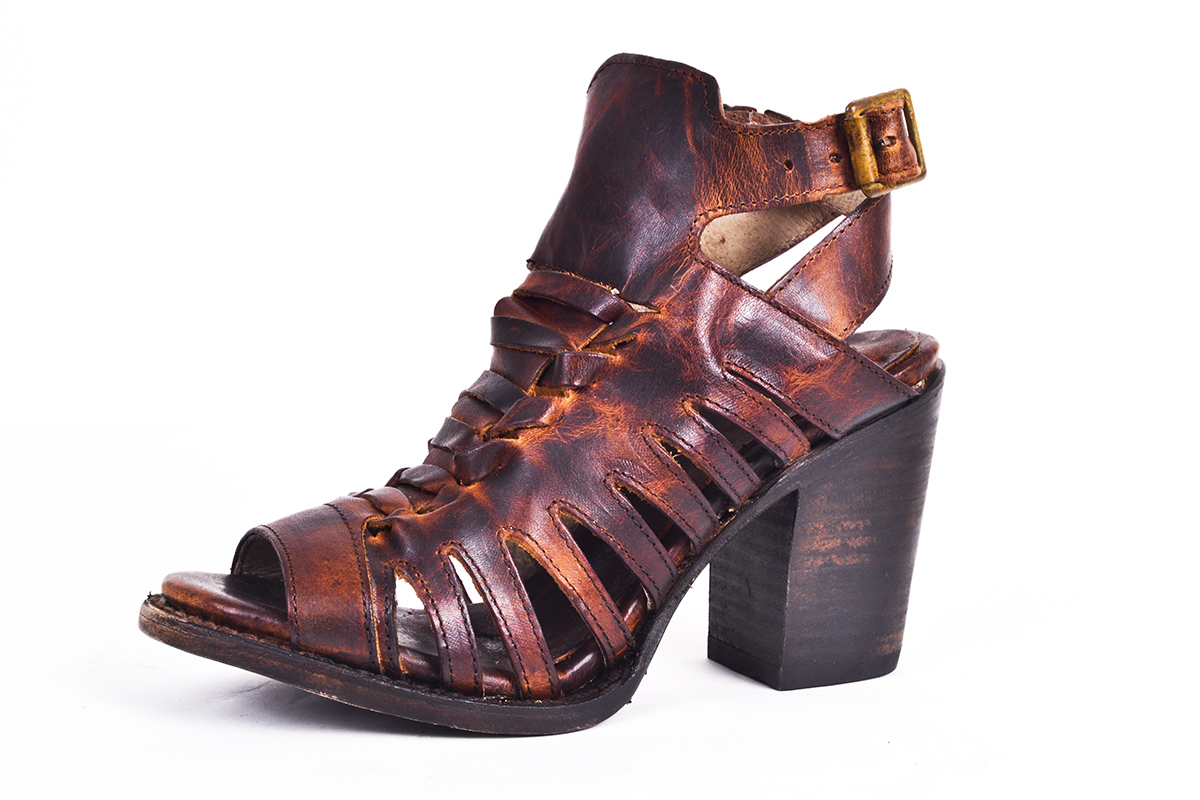 "Freebird ""Bongo"" leather sandal in ""cognac,"" $195 at Out of Hand"