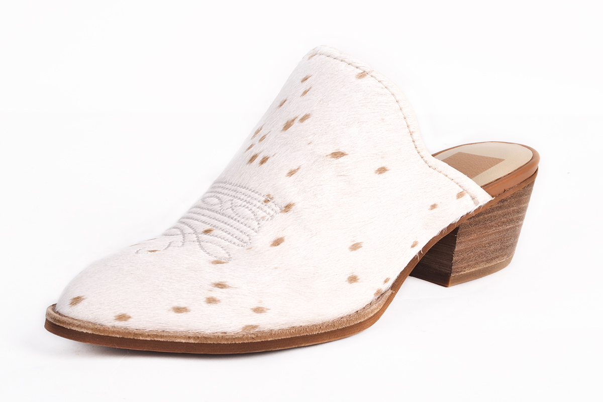 """Dolce Vita """"Shiloh"""" calf hair heel in """"sand,"""" $150 at Shoes on King"""