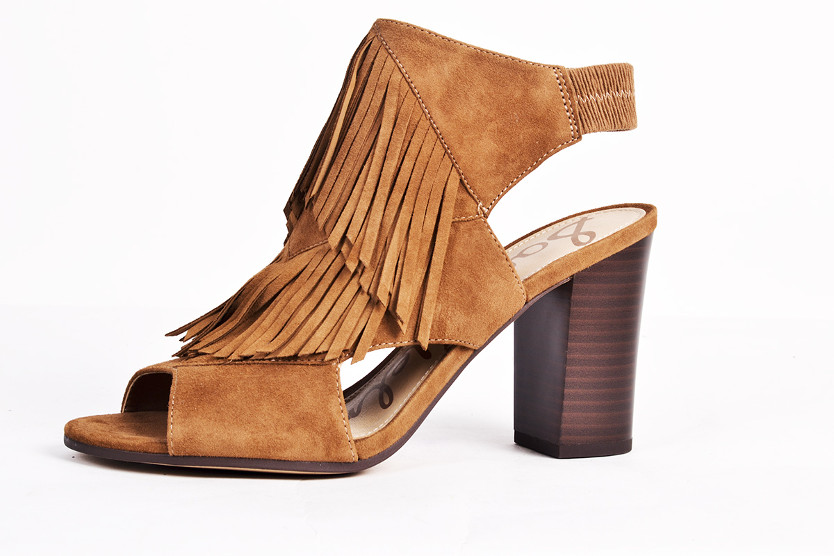 "Sam Edelman ""Elaine"" suede fringed bootie in ""saddle,"" $160 at Shoes on King"