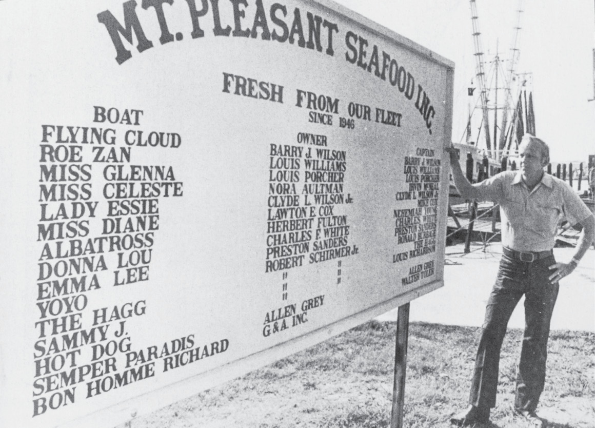 A list of boats delivering to the Toler family's Mount Pleasant Seafood in 1979