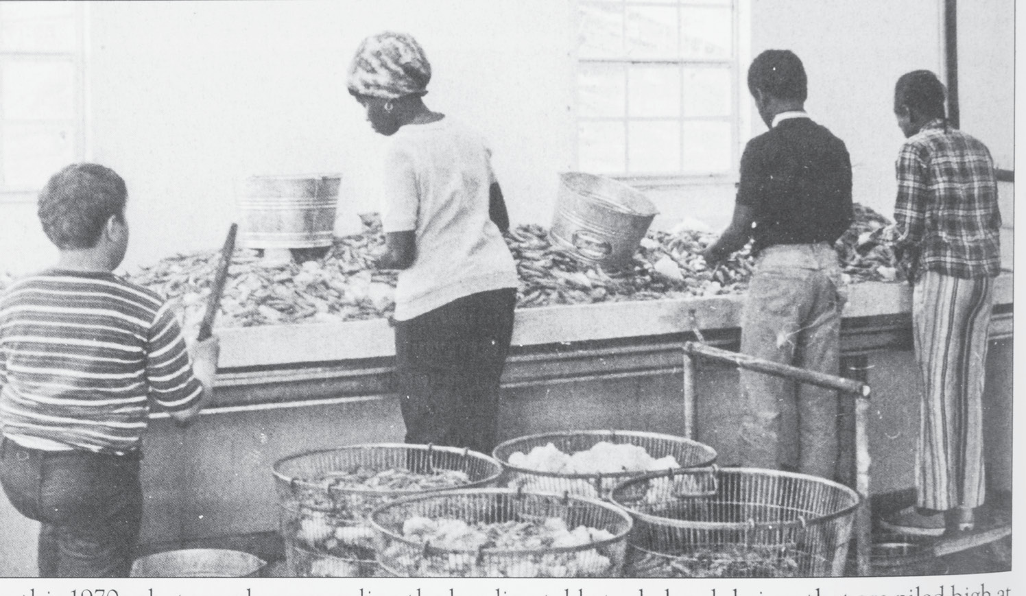 Heading shrimp in a Shem Creek seafood house in the 1970s