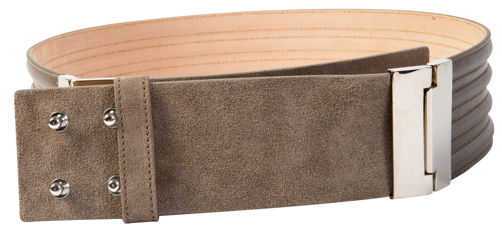 "Lafayette 148 ""Trapunto Waist Belt"" handmade suede belt in gray, $268 at Gwynn's of Mount Pleasant"