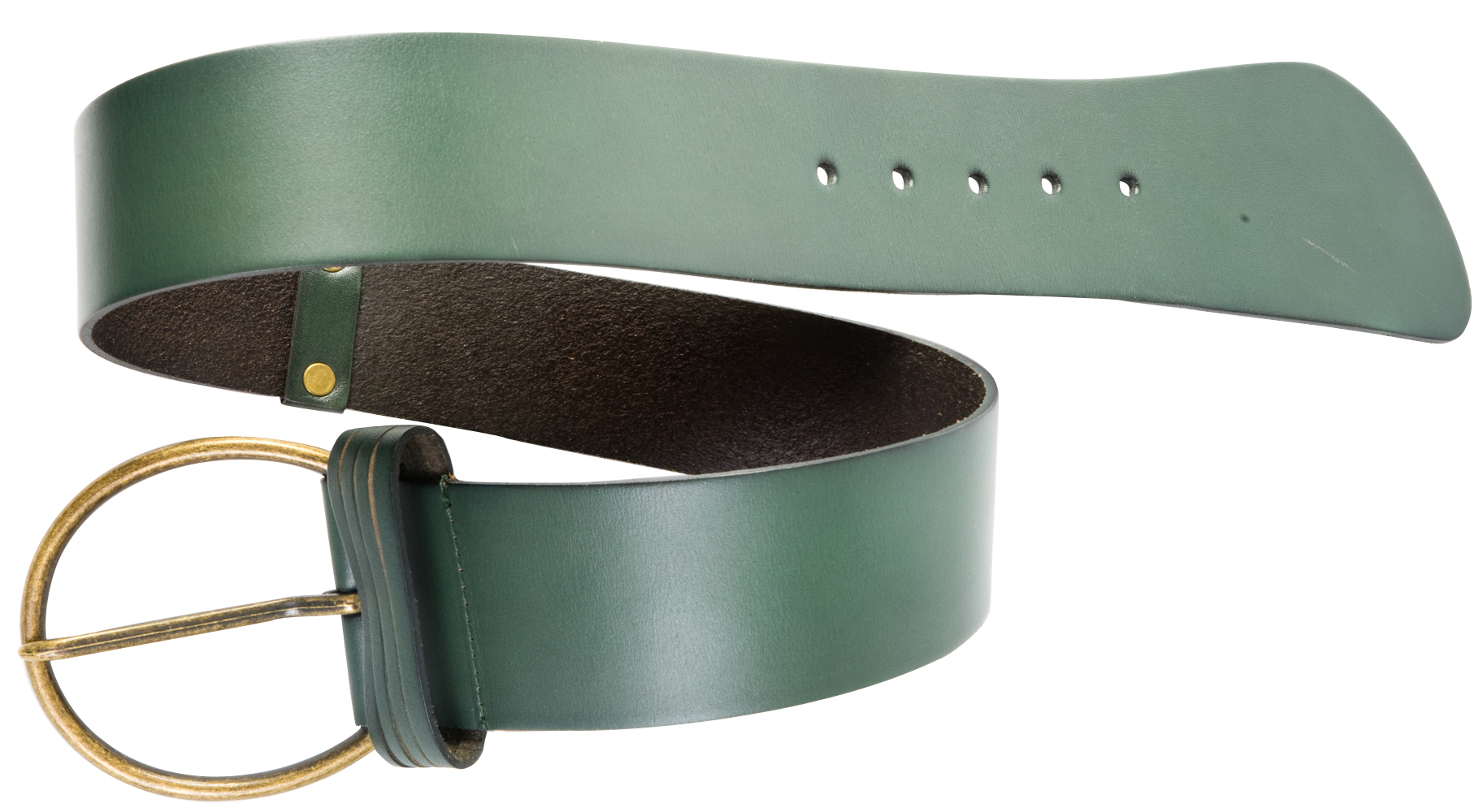 Wide waist belt in army green with a brass finish buckle, $56 at Teal