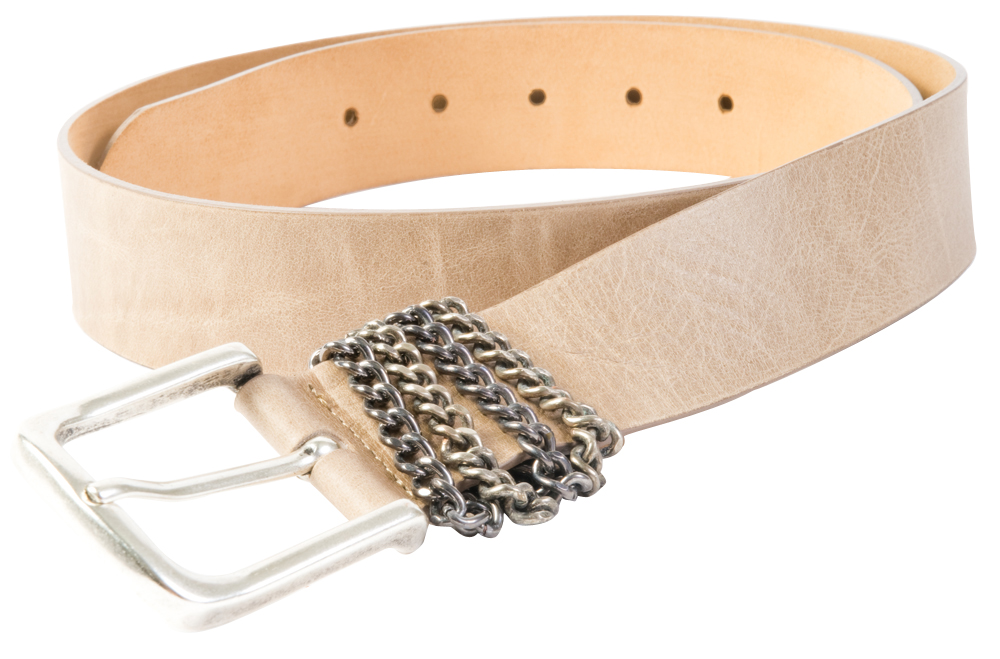 "Streets Ahead ""Chainkeeper"" leather belt in taupe with gunmetal chain detail, $150 at Anne's"