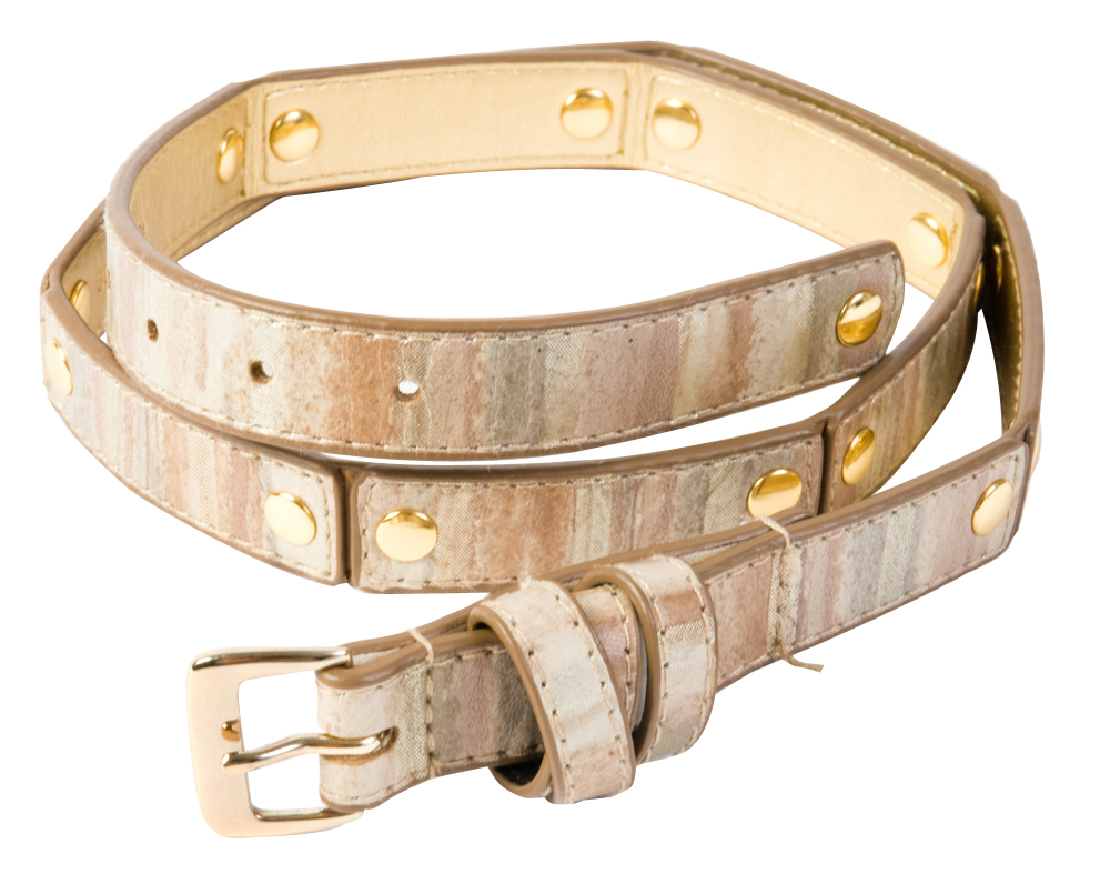 "WCM ""Watercolor Skinny Belt"" leather belt in natural colors and hints of metallic, $54 at Copper Penny"