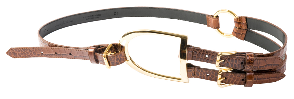 Sandy Duftler crocodile embosssed leather belt with gold oversized buckle, $210 at Anne's